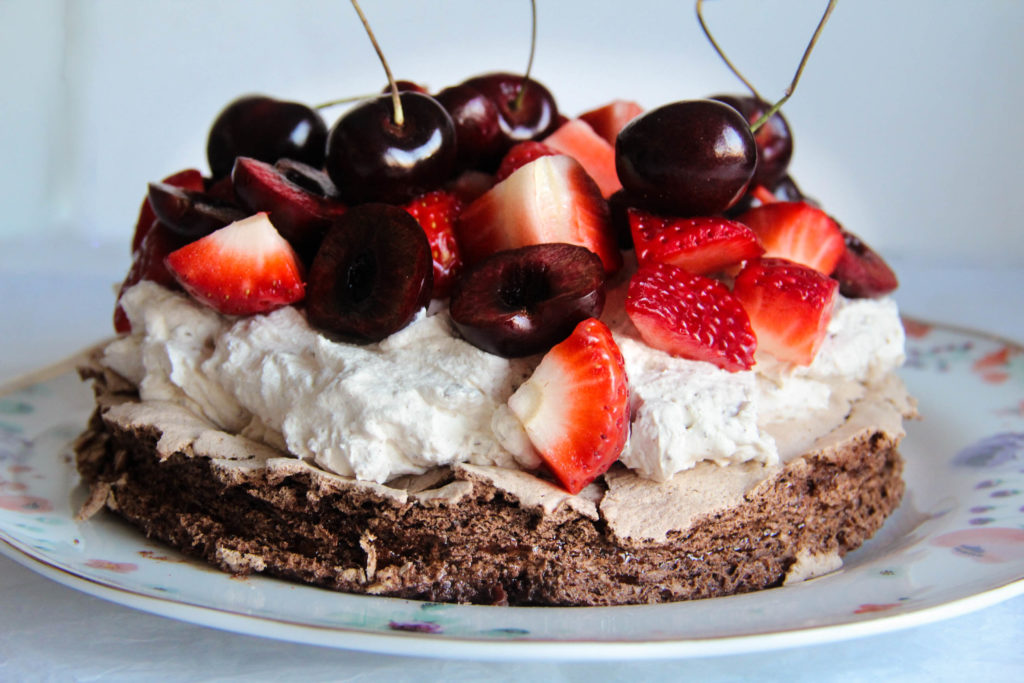 Double Chocolate Meringue with Summer Fruits