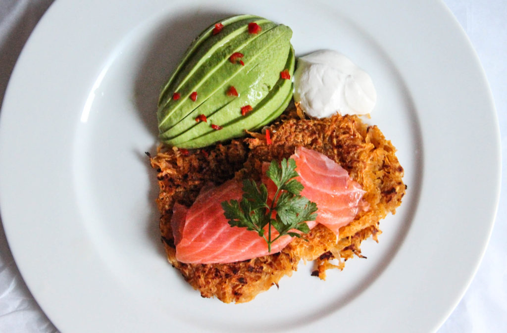 Sweet Potato Latkes with Smoked Salmon