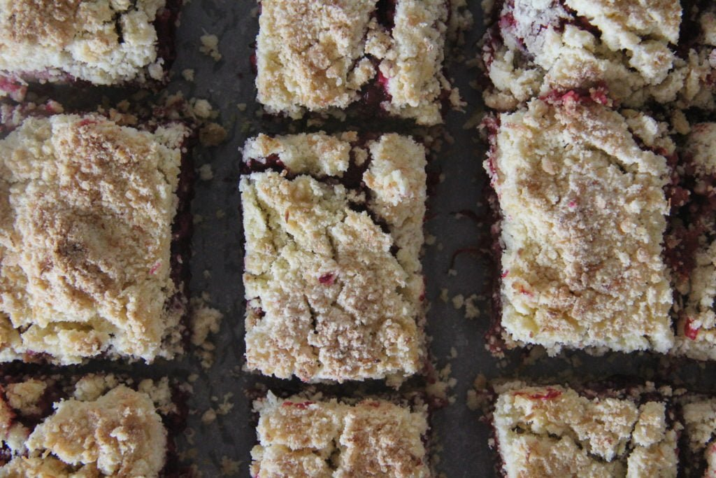 Blackberry and Rhubarb Crumble Bars