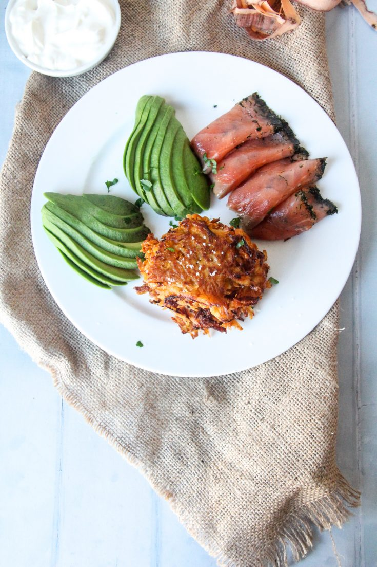 Sweet Potato Latkes with Salmon and Avocado