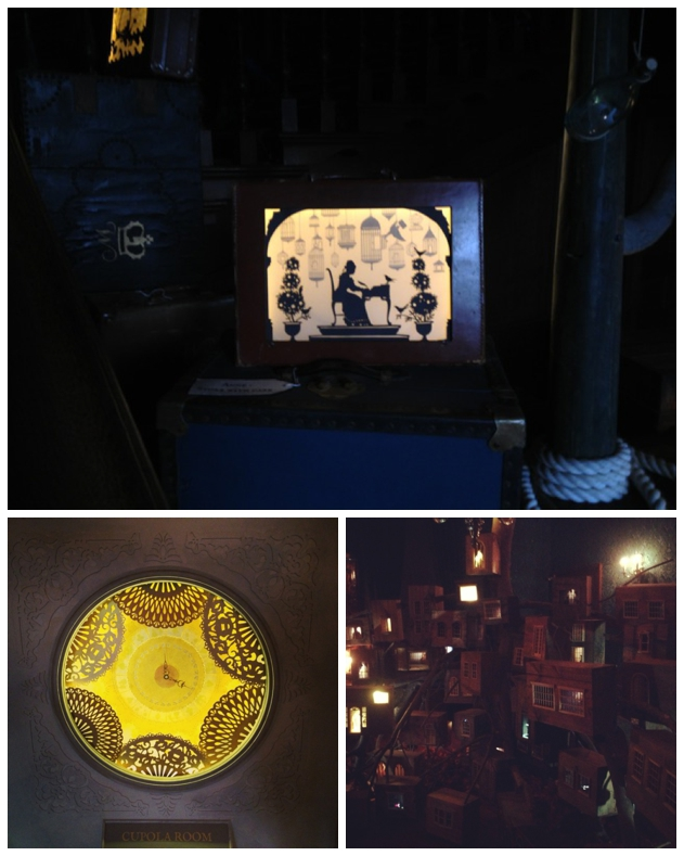 Lit up suitcase/family tree arrangement/Cupola room clock