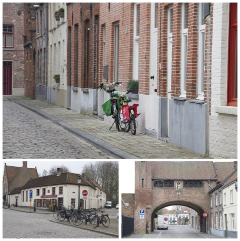 Bikes at the ready/Old Saint John over Zonnekemeers/Bruges building