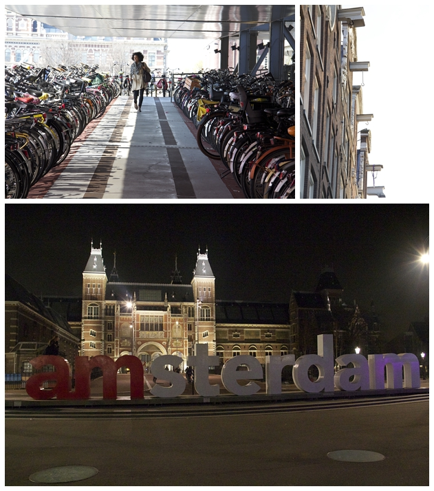 Nina trying to find her bike/Building hooks/I amsterdam sign