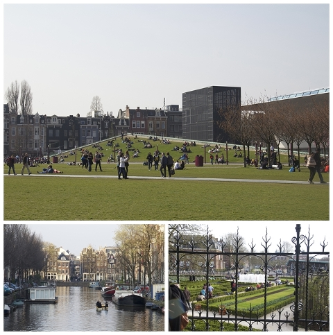 Museum square park/Looking through the fence/Canals and boats