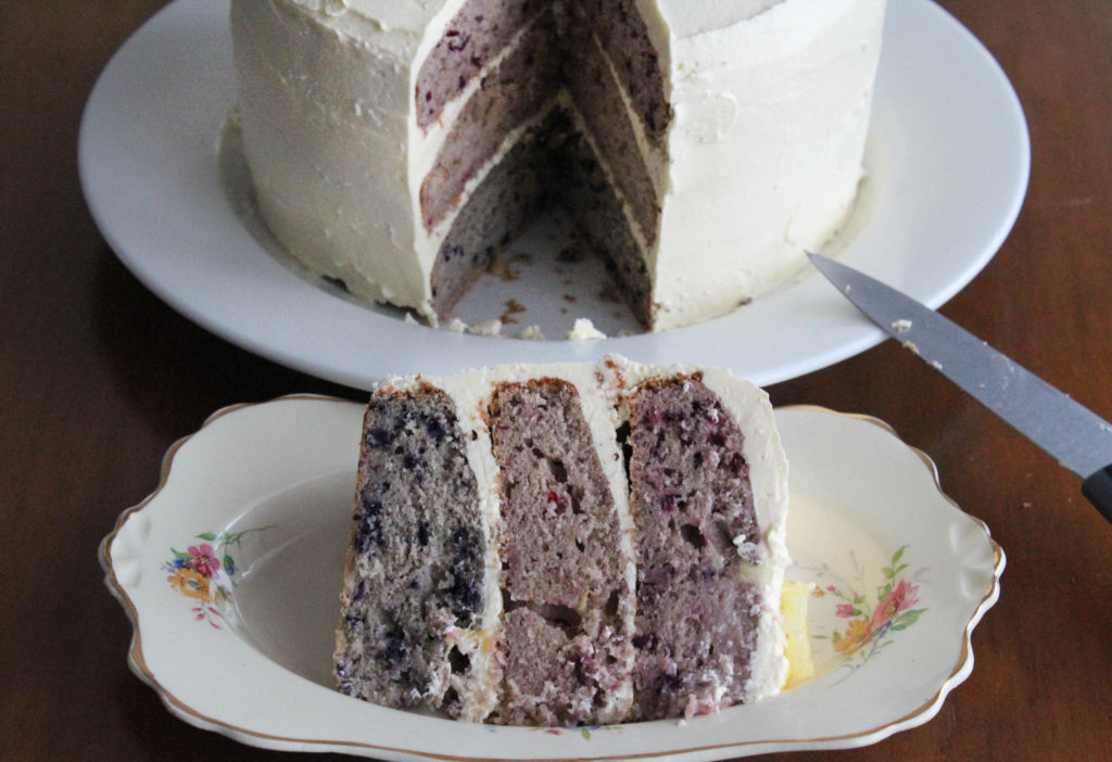 Tiered Three Berry Cake with Pineapple Buttercream Frosting
