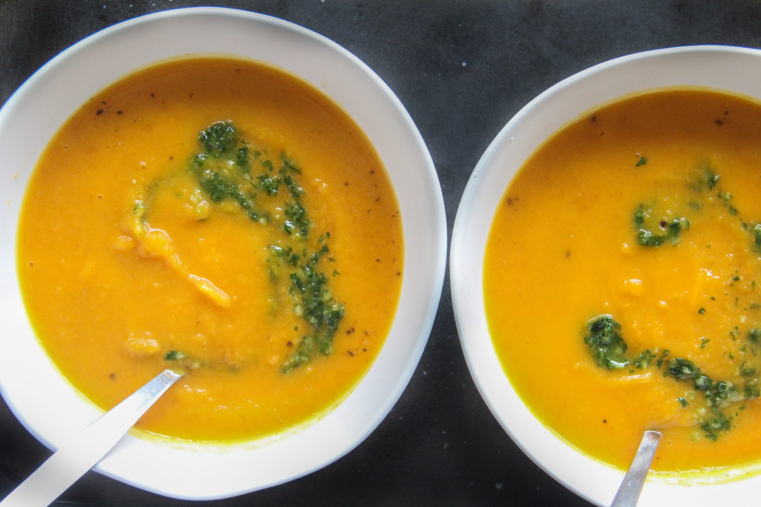 Roasted Carrot and Pumpkin Soup with Parsley Pesto