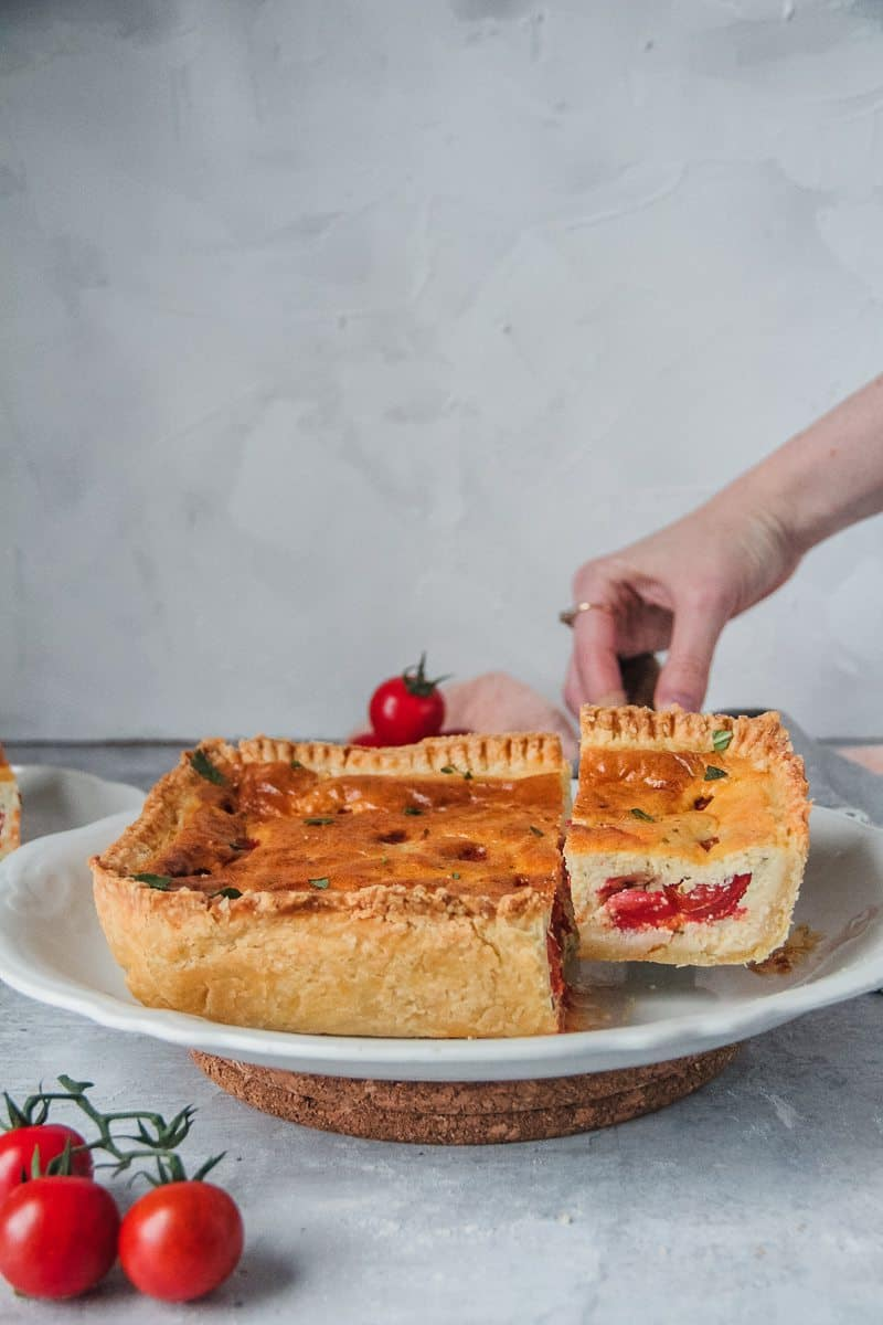 whipped feta and roasted tomatoes quiche